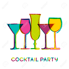 abstract colorful cocktail glasses vector watercolor background