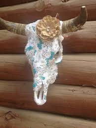 Swarovski Home Decor Created For A Wedding Custom Lace And Ab Swarovski Cow Skull