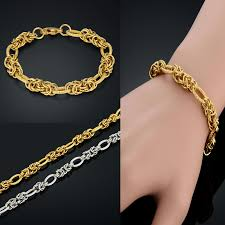 bracelet gold man stainless steel images Man gold necklace vintage men jewelry chunky simple men chain link jpg