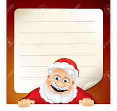 vector illustration of cartoon santa claus and blank wish list