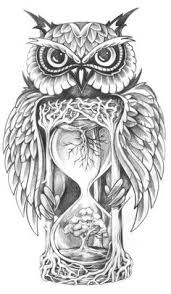 owl tree hourglass sketch idee per tatuaggi pinterest