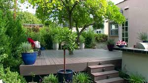 gorgeous deck floor for backyard landscaping idea with colorful
