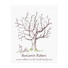 tree guest book nothing mundane baby bunny fingerprint tree guestbook canvas