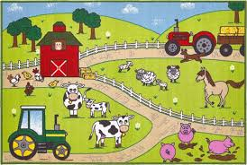 Childrens Play Rug by Farm Play Mat Kids Large Farm Themed Rugs