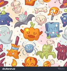 halloween seamless background halloween seamless pattern cute characters vector stock vector