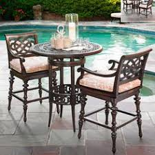 Outdoor Bistro Table Bar Height Panama Jack Island Cove Woven Slatted Bar Height Patio Pub Table