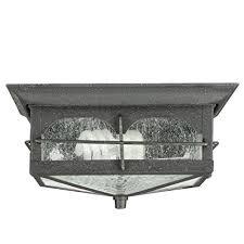 Home Decorators Home Decorators Collection Flushmount 2 Light Outdoor Aged Iron