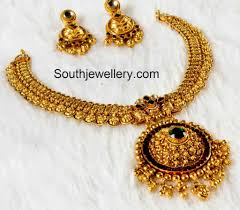 gold antique necklace sets images Simple antique necklace set jewellery designs jpg