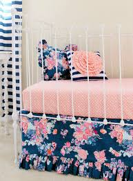 coral and navy baby bedding stripe and floral chic coral