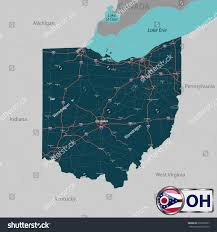 Ohio State Map With Cities by Vector Set Ohio State Roads Map Stock Vector 595070897 Shutterstock
