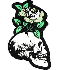 flying coffin skull flower sticker zumiez