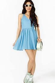 baby blue halter v neckline open back strings design round skirt