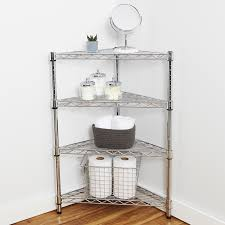 corner bathroom shelving industrial post racks carts and steel wire shelving ideas storables