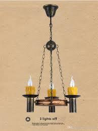 Esszimmer Lampe Kerzen Großhandel Vintage Holz Metall Pendelleuchte Antike Kerze Resin