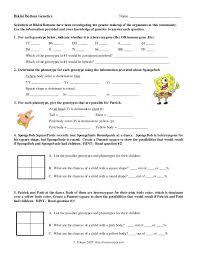 spongebob genetics worksheet worksheets releaseboard free