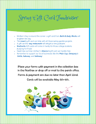 gift card fundraiser gift card fundraiser orders due april 22nd holy family