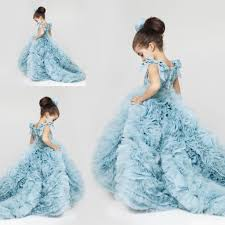 new pretty flower girls dresses 2016 ruched tiered ice blue puffy