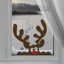 Christmas Window Decorations by Peeping Reindeer Window Sticker By Nutmeg Notonthehighstreet Com