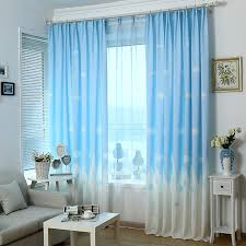 Blue And White Window Curtains Cartoon Kids Bedroom Clouds Blue Best Window Curtains