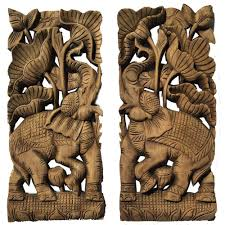 tropical home decor carved wood wall art oriental decor elephant