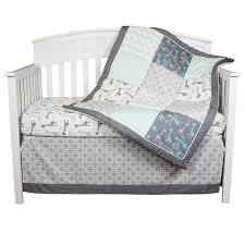 Crib Bedding Collection by The Peanut Shell Crib Bedding Set Grey And Aqua Uptown Giraffe
