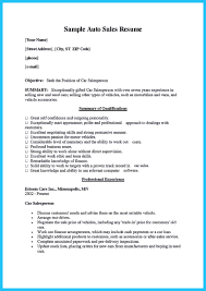 Example Sales Resumes by Sample Car Sales Resume Free Resume Example And Writing Download