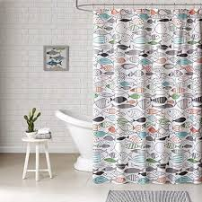 Shower Curtains With Fish Theme Kids Color Coastal Graphic Pattern Shower Curtain Abstract Themed