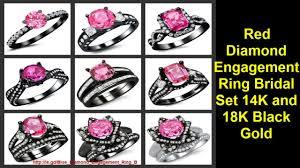 black wedding rings with pink diamonds engagement ring bridal set 14k and 18k black gold