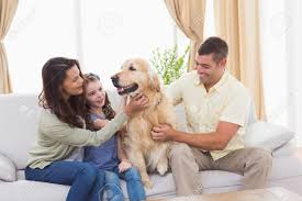 loving family stroking while sitting on sofa at home stock