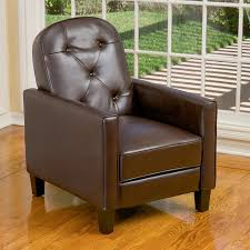 shop best selling home decor johnstown brown faux leather recliner