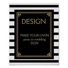 art deco wedding or party sign make your own gold wedding gifts