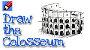 how to draw the colosseum real easy for kids and beginners youtube