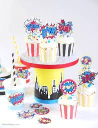 diy superhero birthday cupcake stand party ideas party printables