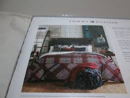 Tommy Hilfiger Duvet Tommy Hilfiger Buckaroo Plaid King Duvet Cover Sham Set Navy Red