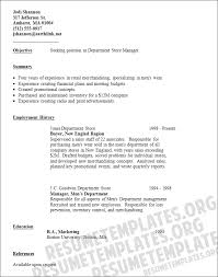 Retail Department Manager Resume Department Store Manager Resume Template