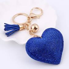 crystal key rings images Heart keychain 6 colors full crystal key long tassel key holder jpg