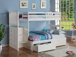 bedroom l shape white solid wood bunk bed with drawers and