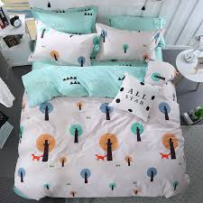 color small tree pattern 3 4pc bedding sets soft duvet