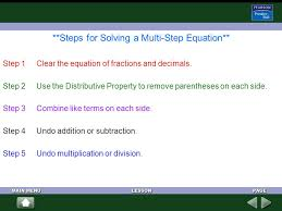 steps for solving a multi step equation step 1 clear the