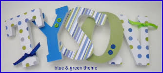 wooden letters wall letters blue and green theme boy