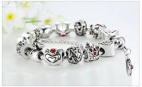 vintage heart bracelet images Vintage heart crown bead charm bracelet silver for women sunevalley jpg