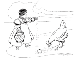 feeding chickens a free vintage coloring page