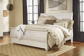 Bedrooms With Metal Beds Bedroom Relax In The Soothing Space With Ashley Sleigh Bed