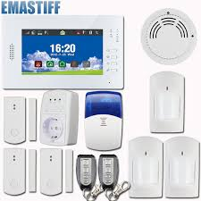 new 7 inch touch panel wireless gsm pstn home security alarm