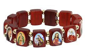 saints bracelet elasticated wooden small square catholic saints