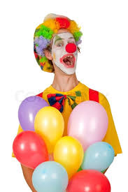 balloons clown colorful clown with balloons isolated on white background stock