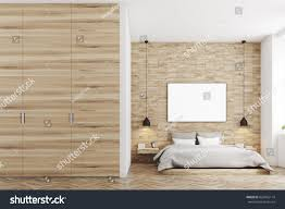 Wooden Wall Bedroom Front View Bedroom Light Wood Walls Stock Illustration 623042114