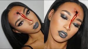 easy bullet hole halloween makeup u0026 glitter lips tutorial