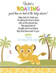 thank you cards baby shower baby shower thank you card lion king