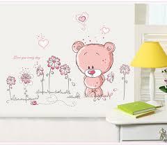 stickers pour chambre d enfant candiway fleur ours wall sticker pour chambre d enfants home decor